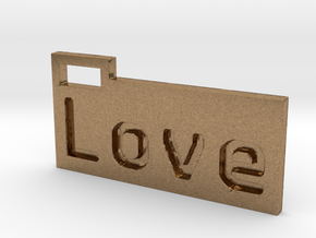 Love 3D in Natural Brass