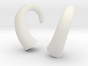 Horns - Glue On in White Natural Versatile Plastic