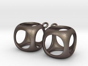 Cube Earrings in Polished Bronzed Silver Steel