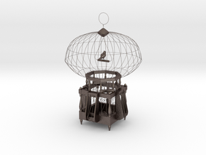 "Cage for birds from the ""COCOLA"" for shapeways in Polished Bronzed Silver Steel"