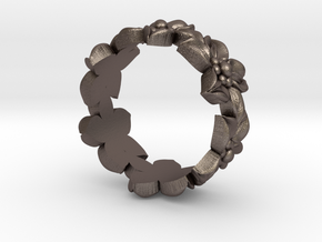 Flower Band Size 9 in Polished Bronzed Silver Steel