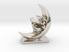 Pig In The Moon 3 Inches Tall  in Platinum