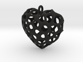 Voronoi Heart Piece Necklace in Black Natural Versatile Plastic