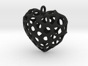 Voronoi Heart Piece Necklace in Black Natural Versatile Plastic