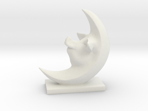 Pig In The Moon 3 Inches Tall  in White Natural Versatile Plastic