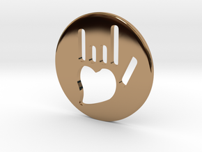 Coin-L - Handsign carved - I love you in Polished Brass