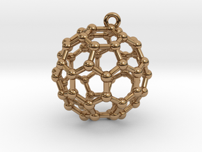 BuckyBall C60 Earring, Silver, 1.7cm in Polished Brass