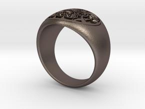 Tiki Man mask ring in Polished Bronzed Silver Steel
