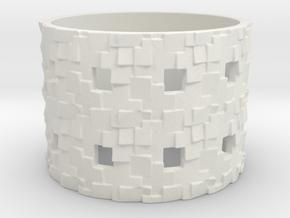 Puzzle Box Ring Size 13 in White Natural Versatile Plastic