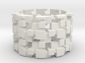 Tilt Cubes Ring Size 12 in White Natural Versatile Plastic