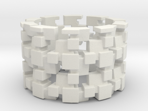 Tilt Cubes Ring Size 8 in White Strong & Flexible
