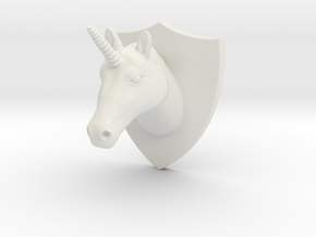 Unicorn Head Mount in White Strong & Flexible