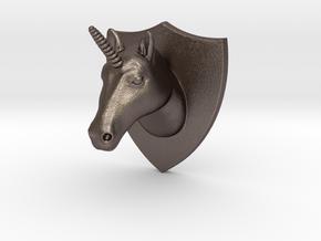 Unicorn Head Mount in Polished Bronzed Silver Steel