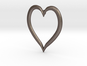 Heart Earring in Polished Bronzed Silver Steel