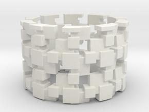 Tilt Cubes Ring Size 13 in White Natural Versatile Plastic