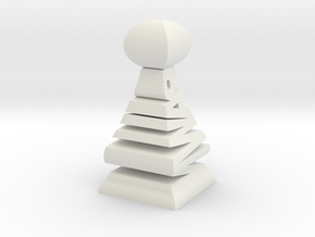 Typographical Pawn Chess Piece in White Natural Versatile Plastic