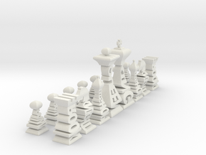 Mini Typographical Chess Set in White Natural Versatile Plastic