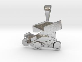Sprint Car Pendant in Natural Silver