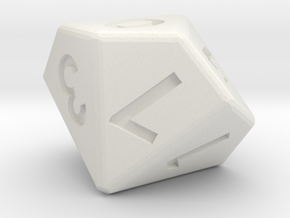 10-sided die (d10) in White Strong & Flexible