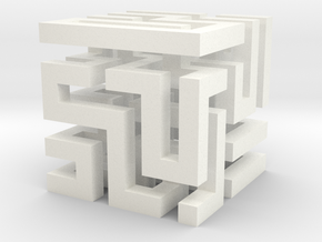 Cube Maze in White Strong & Flexible Polished