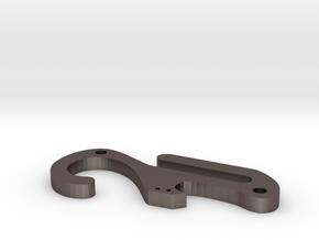 Pocket dangler carabiner keychain with bottle open in Stainless Steel