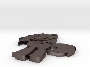 V.S. Pendant in Polished Bronzed Silver Steel
