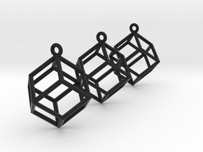 Rhombic Dodecahedron Earrings  in Black Strong & Flexible