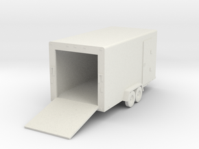 Cargo Trailer HO Scale in White Natural Versatile Plastic