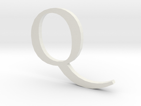 Q (letters series) in White Natural Versatile Plastic