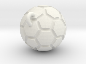 Pendant(Soccer Ball) in White Natural Versatile Plastic