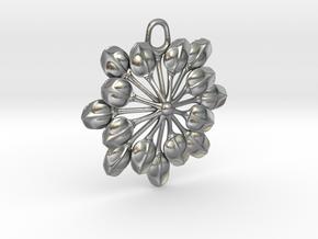 Sun Petals Pendant in Raw Silver