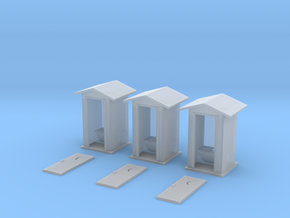 HO-Scale Peaked Roof Outhouse (3-Pack) in Frosted Ultra Detail