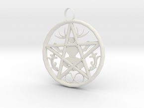 Cernunnos Hex Infinity Pendant  # 2, the Original in White Natural Versatile Plastic