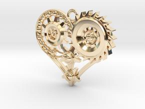 Mech Heart Pendant in 14K Yellow Gold