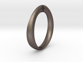 Moebius Love Ring in Polished Bronzed Silver Steel
