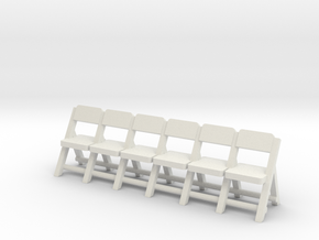HO Folding Chairs Row (Not Full Scale) in White Natural Versatile Plastic