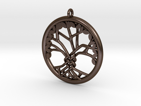 Tree Of Life Pendant in Polished Bronze Steel: Large