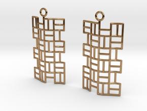 Tatami Earrings in Polished Brass