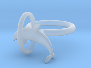 Dolplin Ring (US Size8) in Smooth Fine Detail Plastic