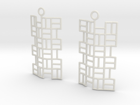 Tatami Earrings in White Natural Versatile Plastic