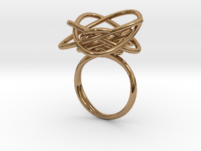 Sprouted Spiral Ring (Size 8) in Polished Brass