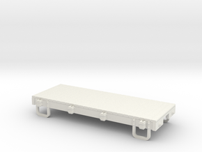 On18 12ft 4w Flat car in White Natural Versatile Plastic