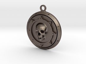 Skulls Medallion in Polished Bronzed Silver Steel