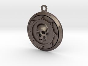 Skulls Medallion in Polished Bronzed Silver Steel