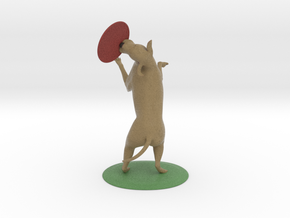 """Labrador and frisbie 3 1/2"""" tall in Full Color Sandstone"""