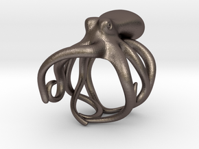 Octopus Ring 17mm in Polished Bronzed Silver Steel