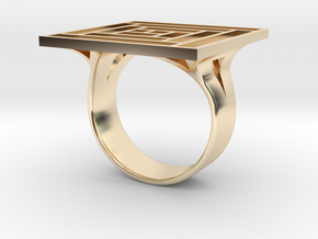 Log Cabin Ring - US Size 07 in 14K Yellow Gold