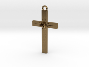 Cross With Starburst  in Natural Bronze