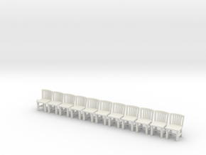 S Scale Simple Chairs X10 in White Natural Versatile Plastic