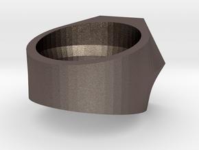 Graduate Ring Model Alt 3-5 Mm in Polished Bronzed Silver Steel